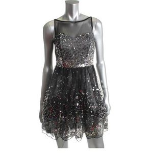 Ruby Rox Prom Dress Cocktail Black Silver Sequin S